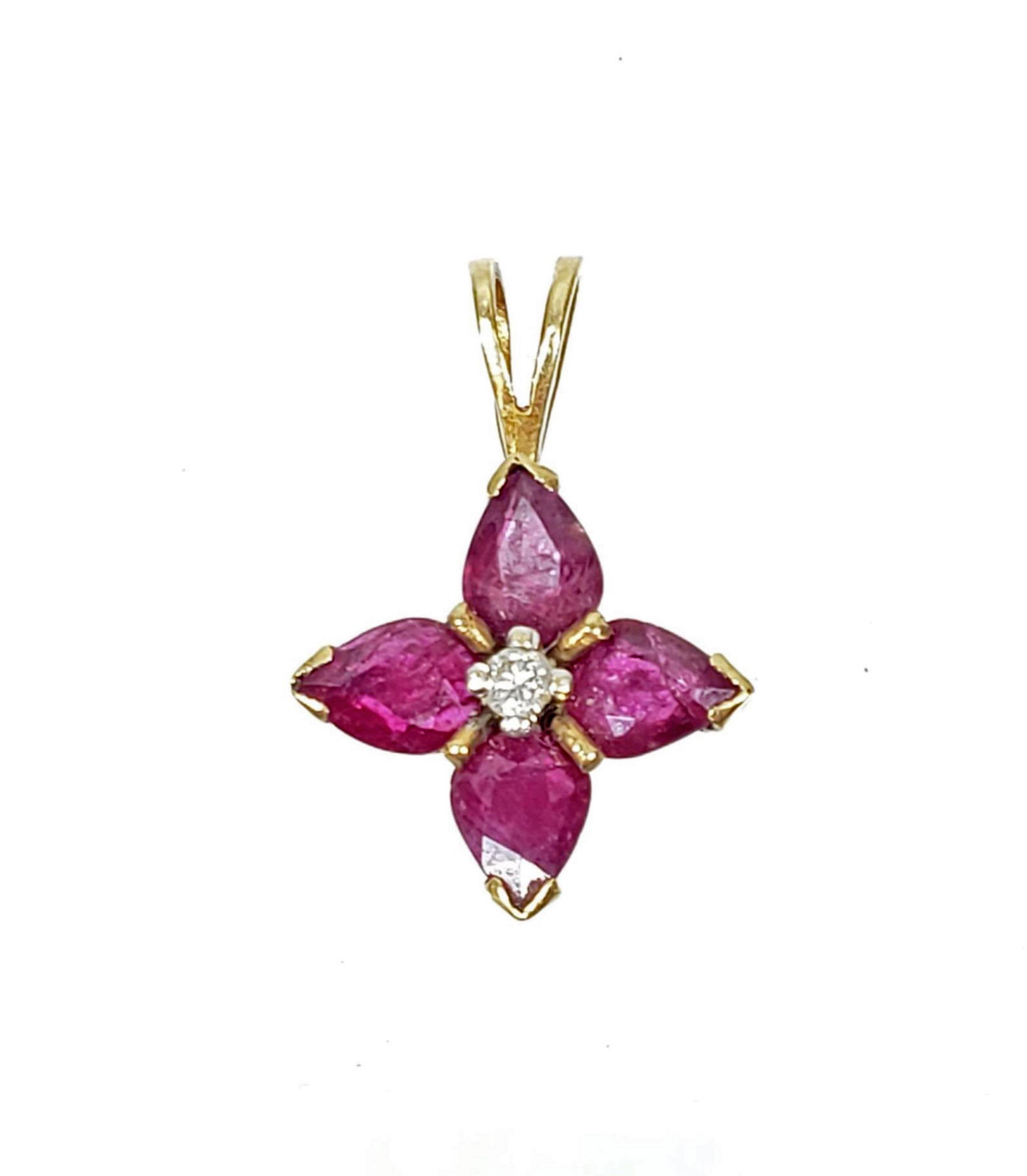 14K Gold, Ruby & Diamond Pendant