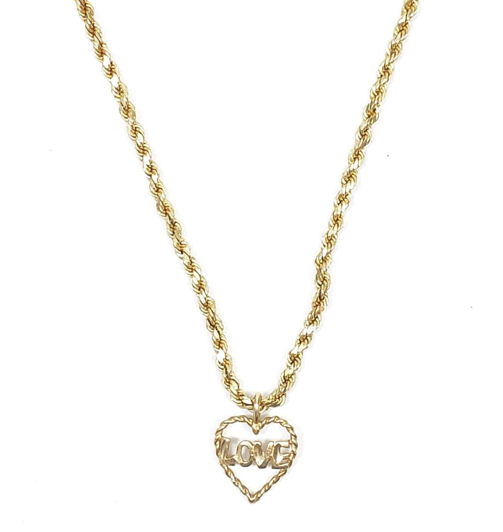 14K Gold & Love Pendant Rope Necklace