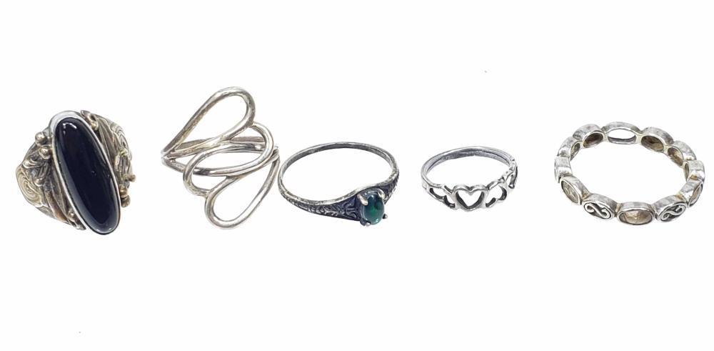 (5) Sterling Silver, Quartz & Onyx Rings