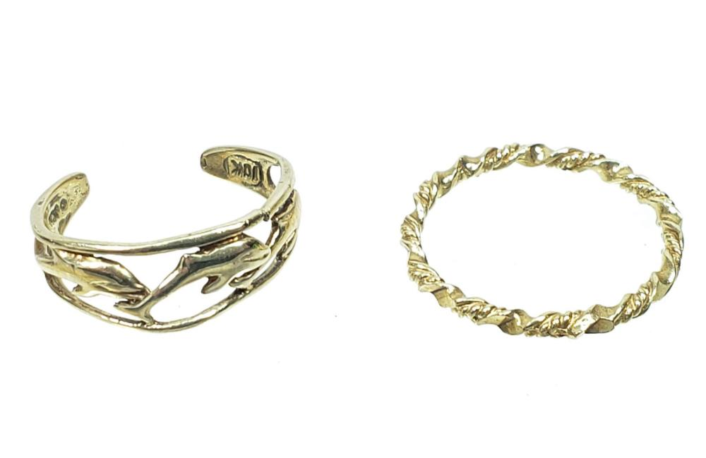 (2) 10K Gold Toe Rings, Dolphins