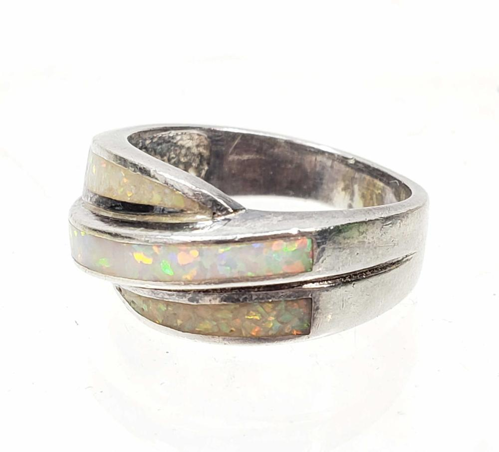 Sterling Silver & Opal Ring Size (6.75)