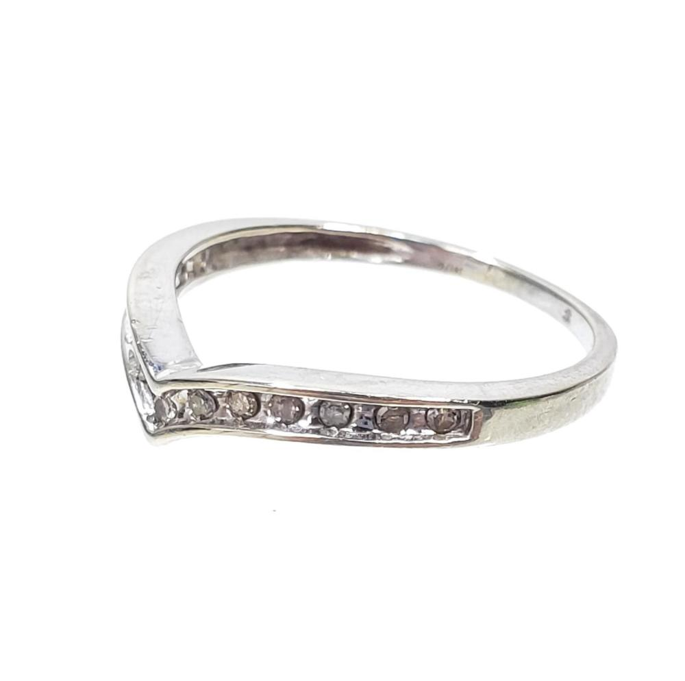 10K White Gold & Diamond Ring Size (6.5)