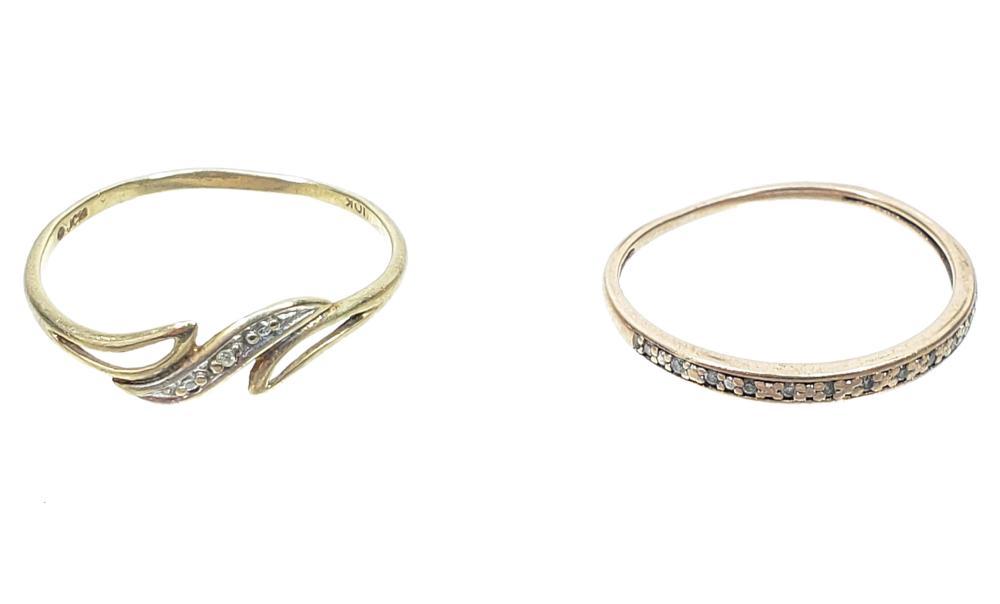 (2) 10K Gold & Diamond Rings