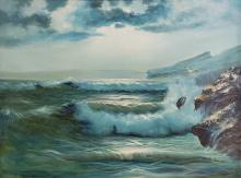 David Burton Signed Seascape Oil On Canvas