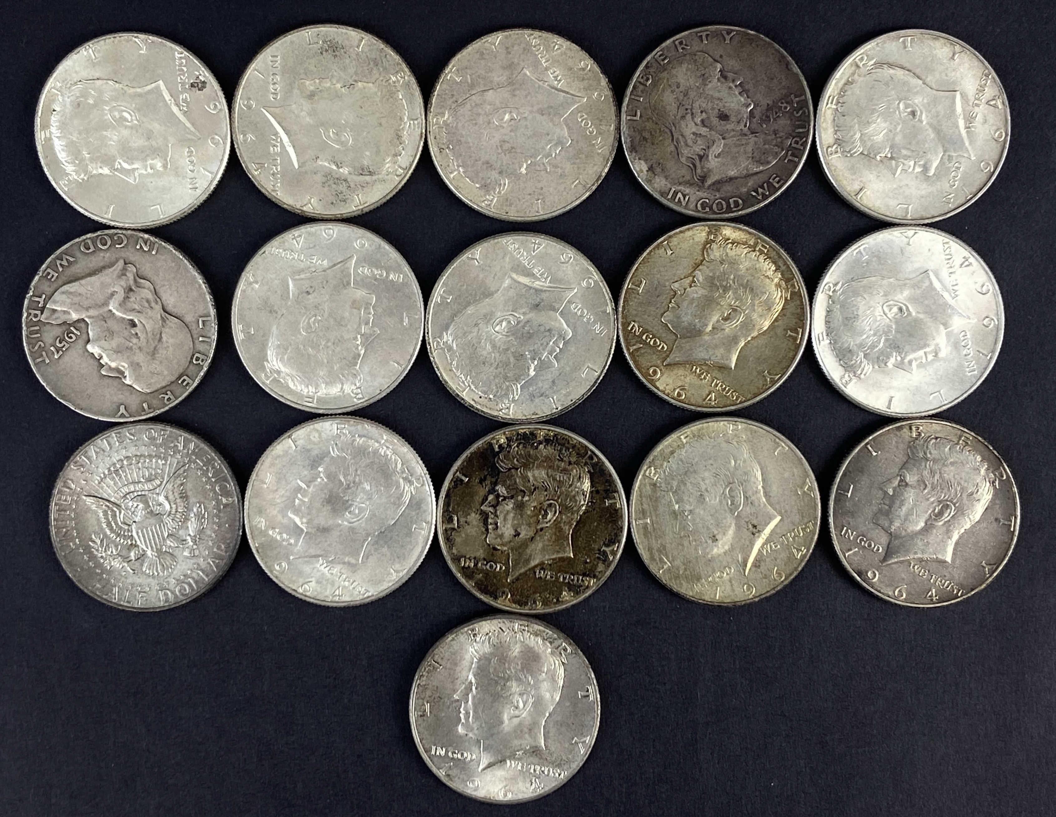 (14) Kennedy (2) Franklin Half Dollar Coins