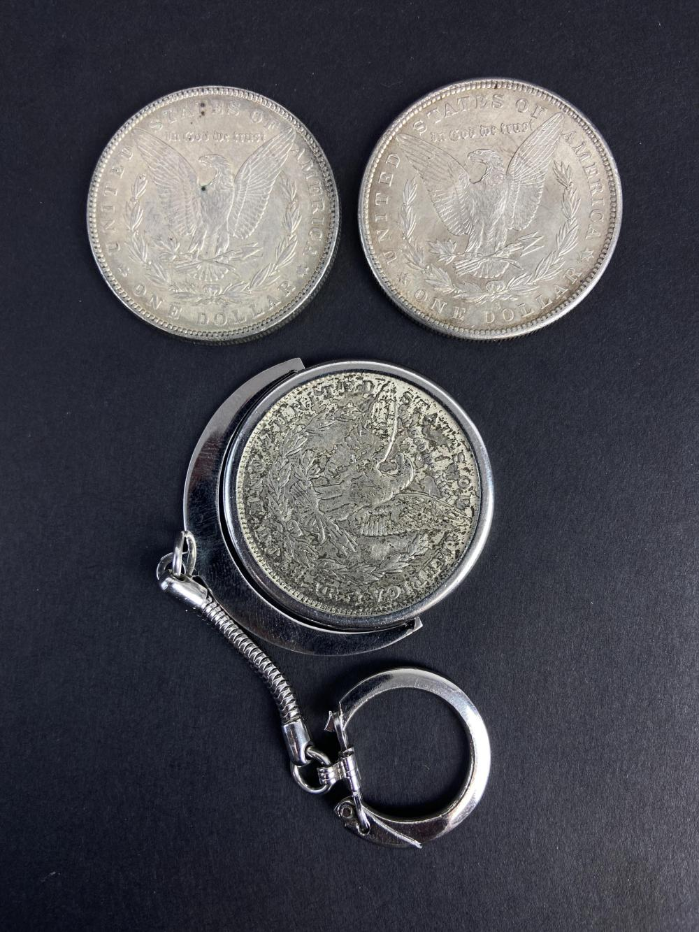(3) Morgan Silver Dollars 1886, 1880-s, 1890-o