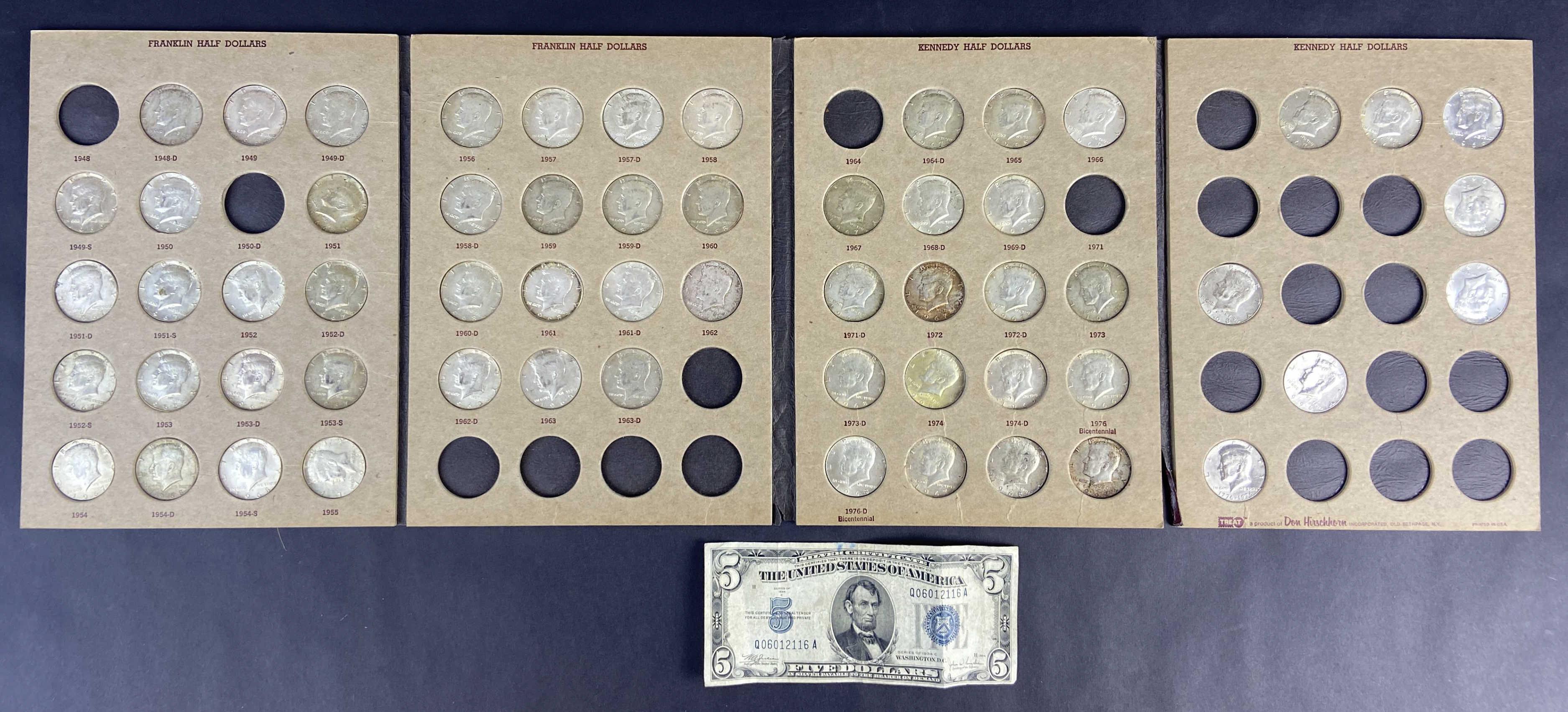 (59) Kennedy Half Dollars & 5 Dollar Silver Certificate