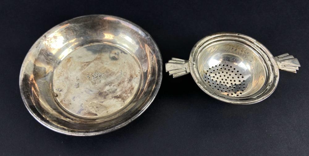 Antique English Sterling Dish & Tea Strainer
