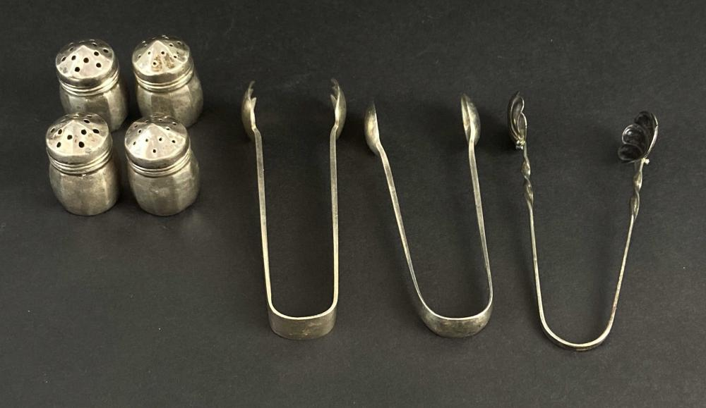 Antique Sterling Tongs & Salt/ Pepper Shakers