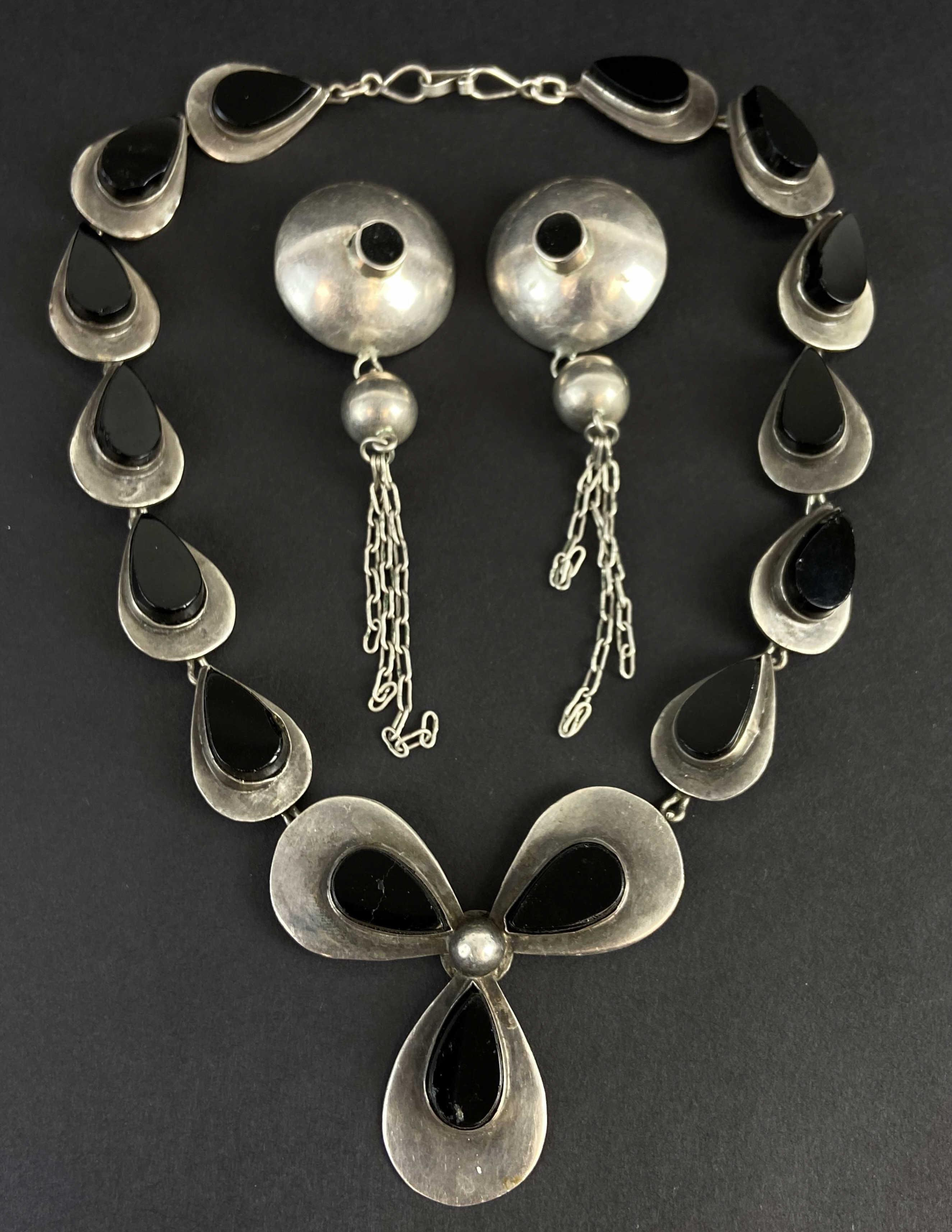 Mexico Modern Sterling & Onyx Necklace/ Earrings