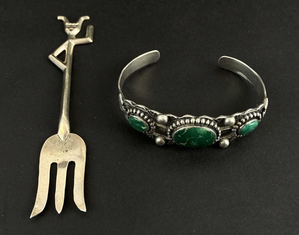 Zuni Native American Sterling Fork & Cuff Bracelet
