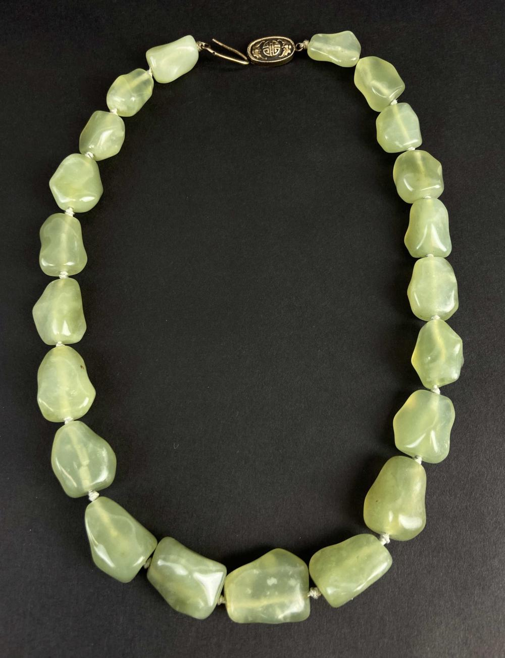 Vintage Chinese Prehnite Stone & Silver Necklace
