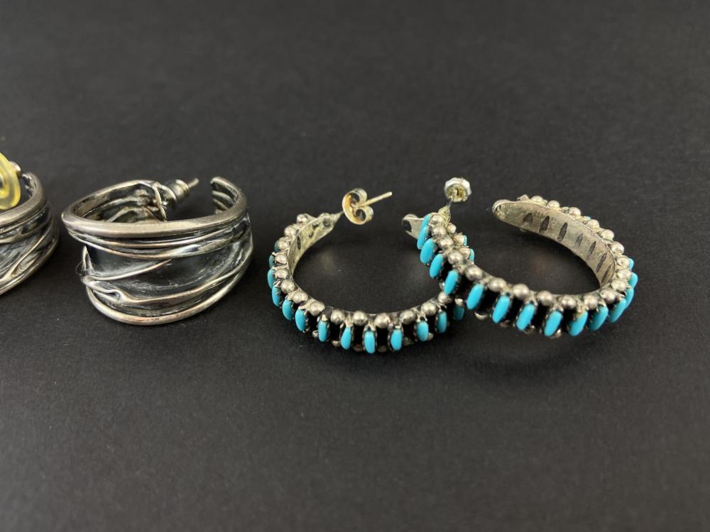 (3) Pairs Of Vintage Sterling Silver Earrings