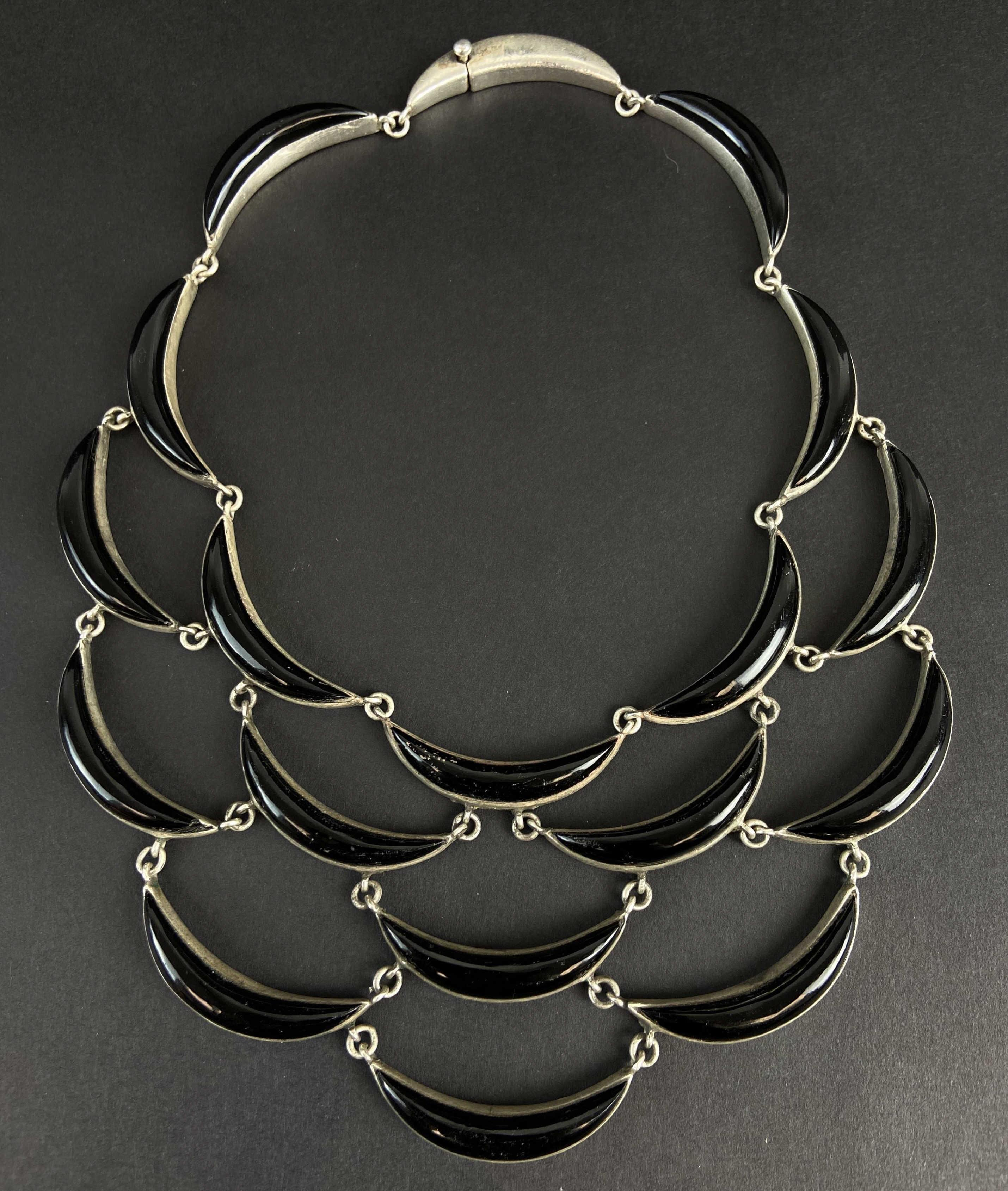 c.1970 Taxco Mexican Sterling Silver Necklace