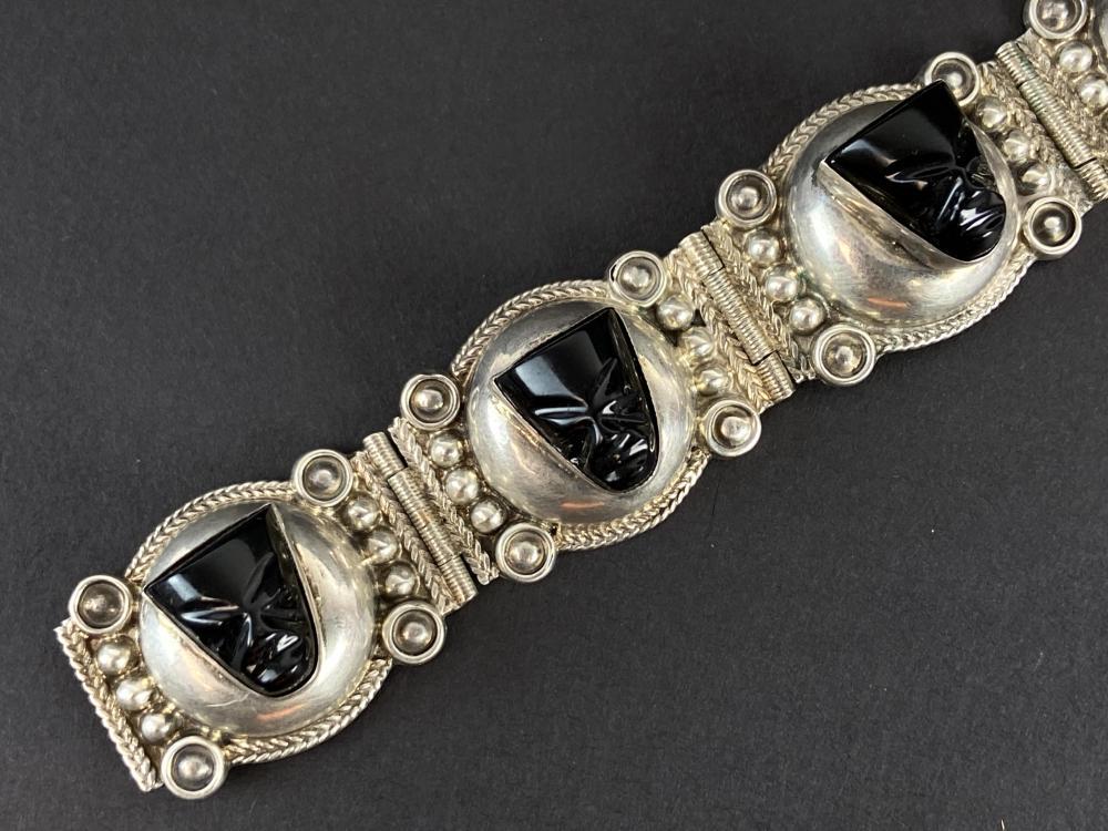 1960s Taxco Mexico Black Obsidian Bracelet
