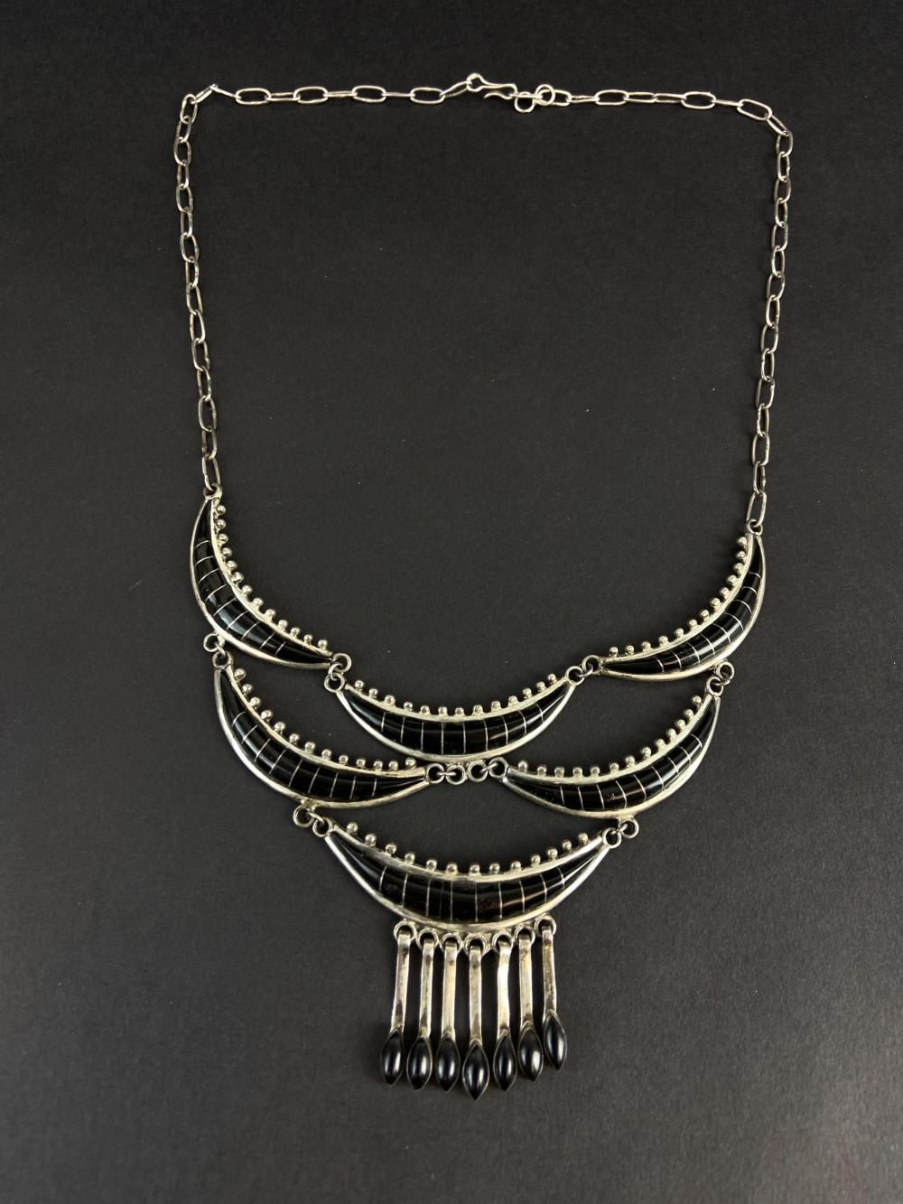 Mexican Modern Sterling Black Onyx Necklace