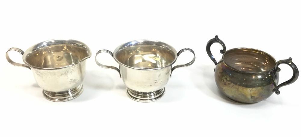(3pc) Sterling Silver Lenox Creamer & Sugar Dishes