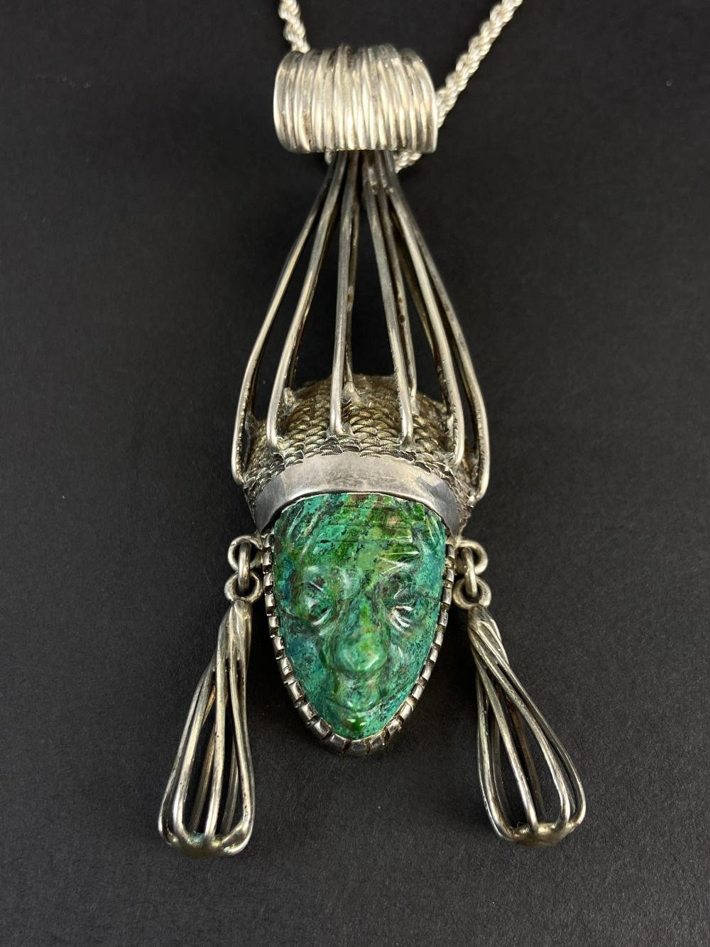Mid Century Cecilia Of Taxco Pendant Necklace