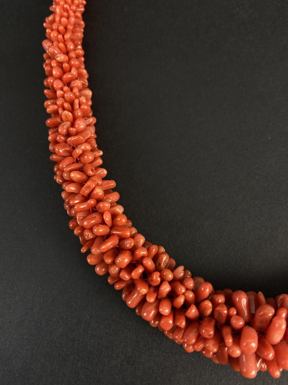 Vintage Sterling Silver & Coral Necklace