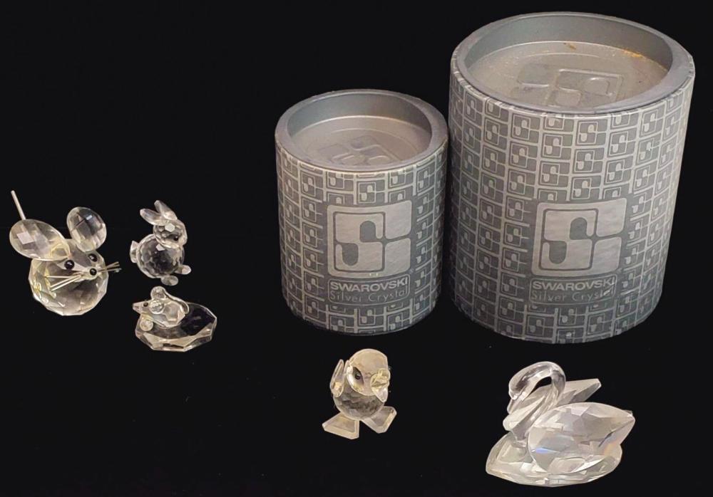 (5pc) Vintage Swarovski Crystal Animal Figurines