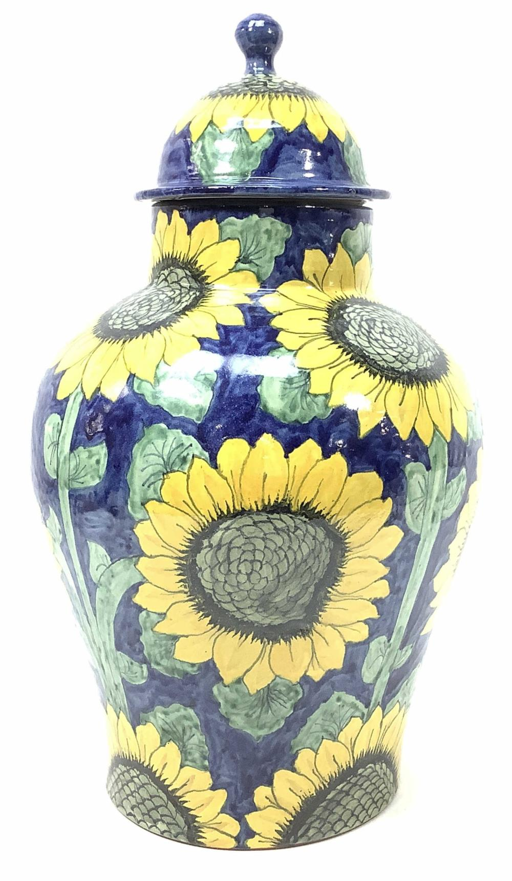 Lot - Amora Mexico Ceramic Lidded Sunflower Urn
