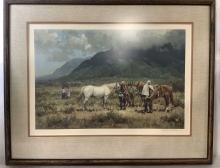Melvin Warren Signed 'the White Stallion' Litho
