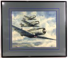 Alfred Owles (1894-1978) Watercolor Military Plane