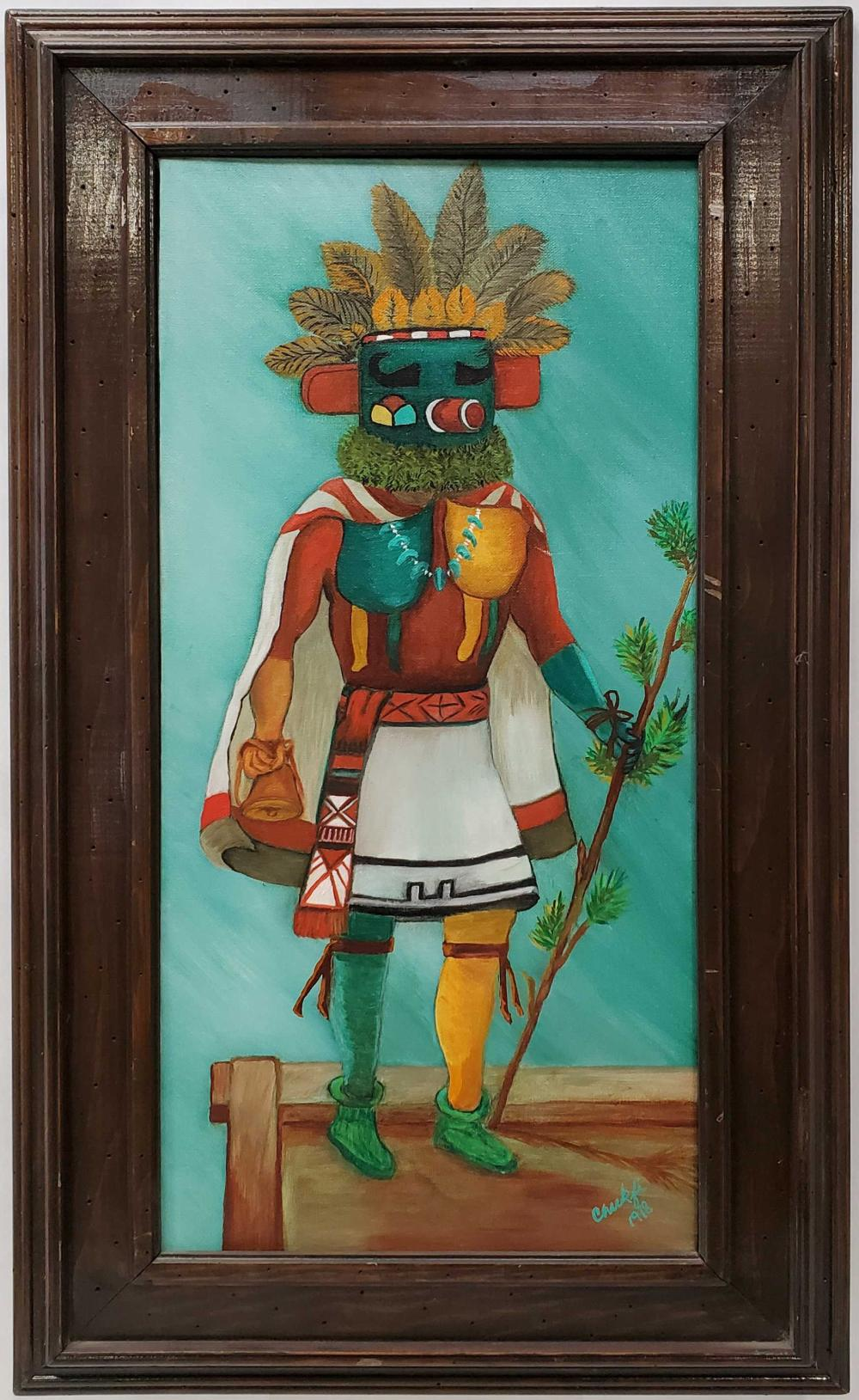 Chukfi Hopi Hummingbird Kachina Oil On Canvas