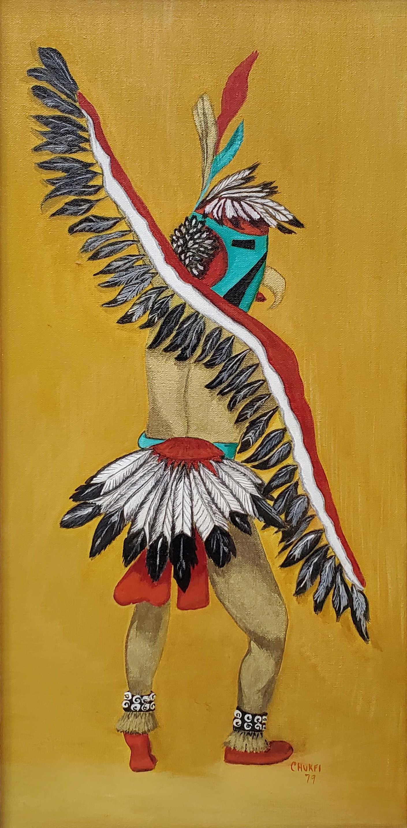 Chukfi Signed Eagle Dancer Kachina Oil On Canvas