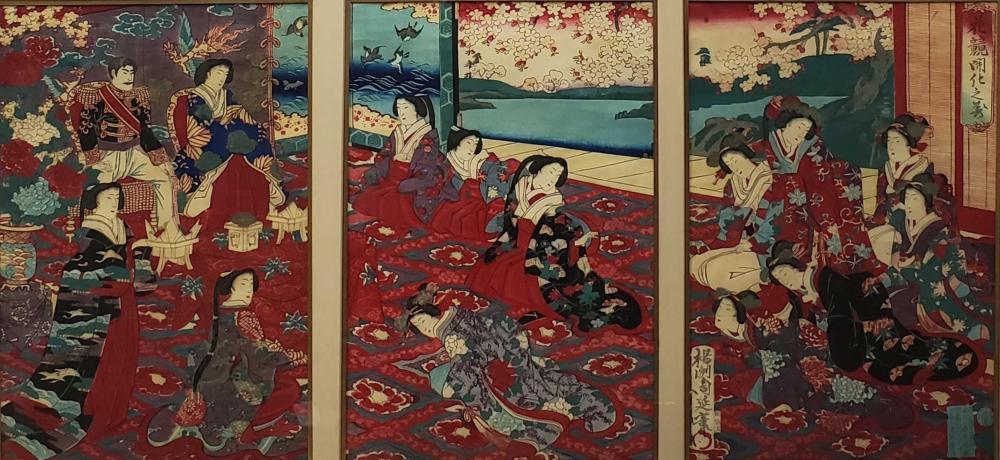 1879 Chikanobu Mixed Media Woodblock Print