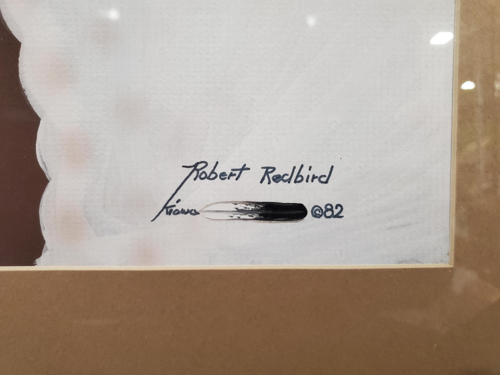 Robert Redbird Sr (1939-2016) Mixed Media On Paper