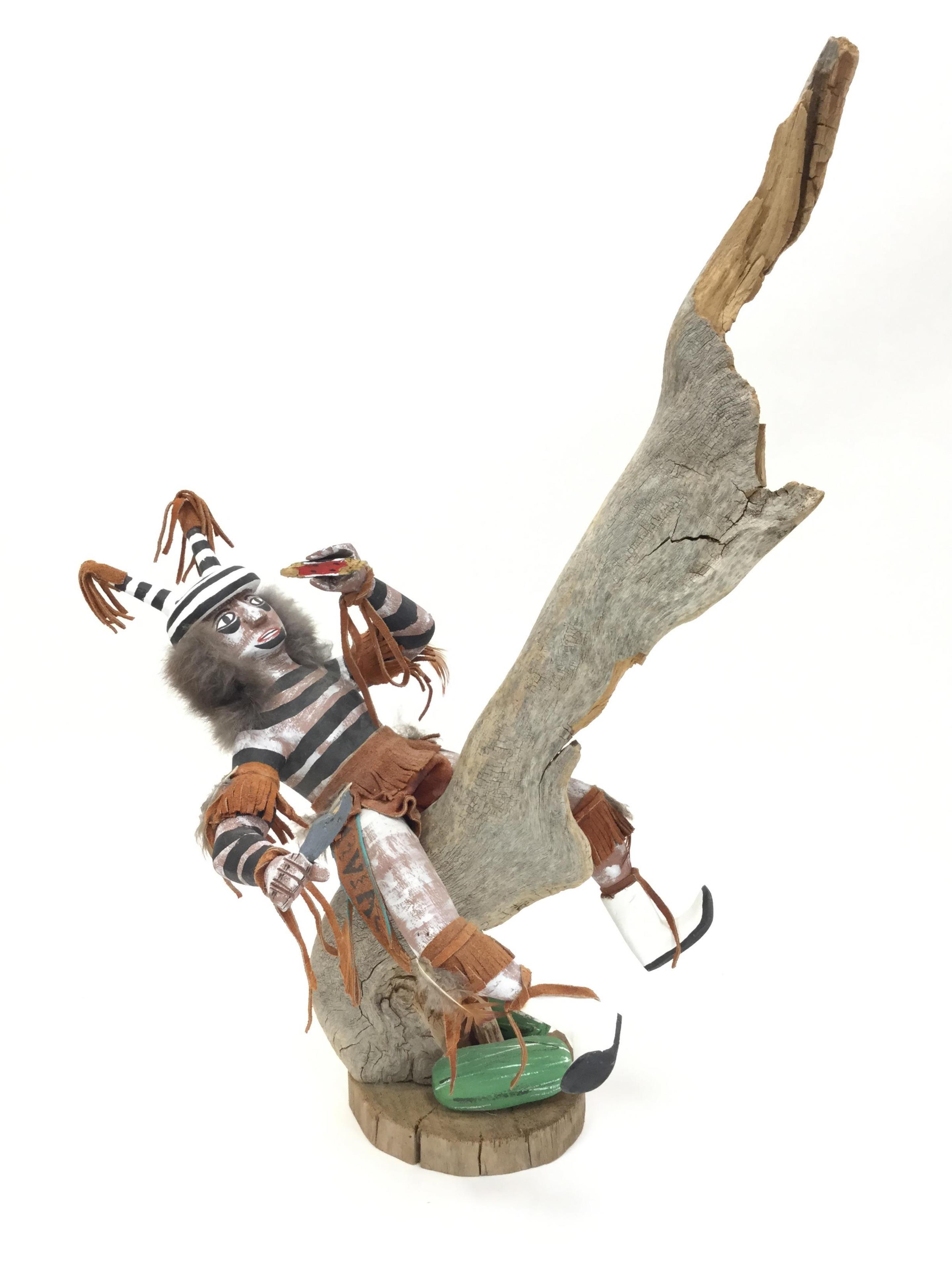 "Native American ""Clown Dancer"" Kachina On A Branch"