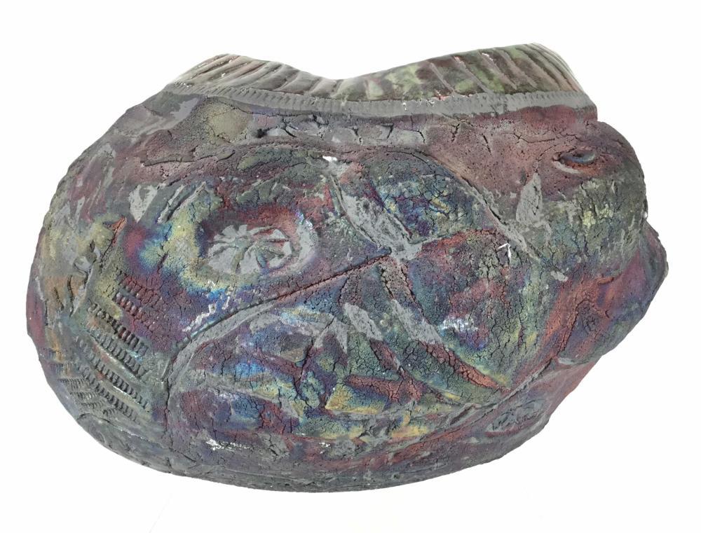 Large Raku Studio Art Pottery Olla