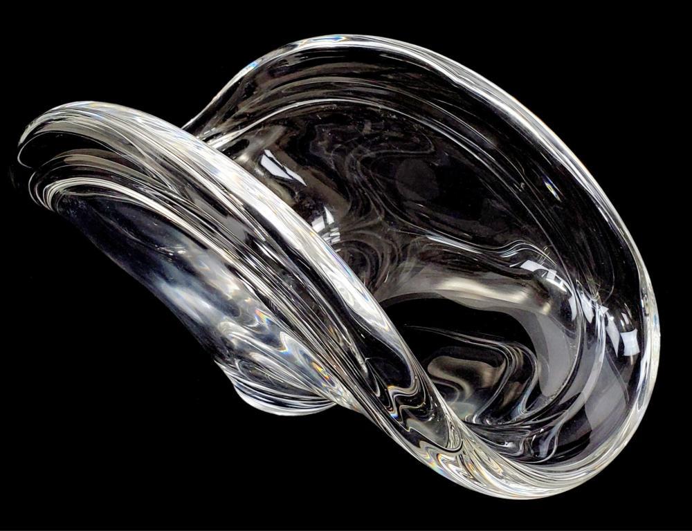 Steuben Signed Folded Crystal Bowl