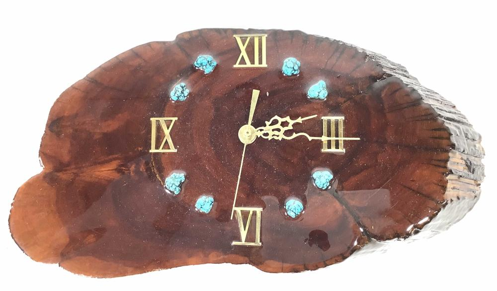 (2) Lacquered Wood Slab & Turquoise Clocks