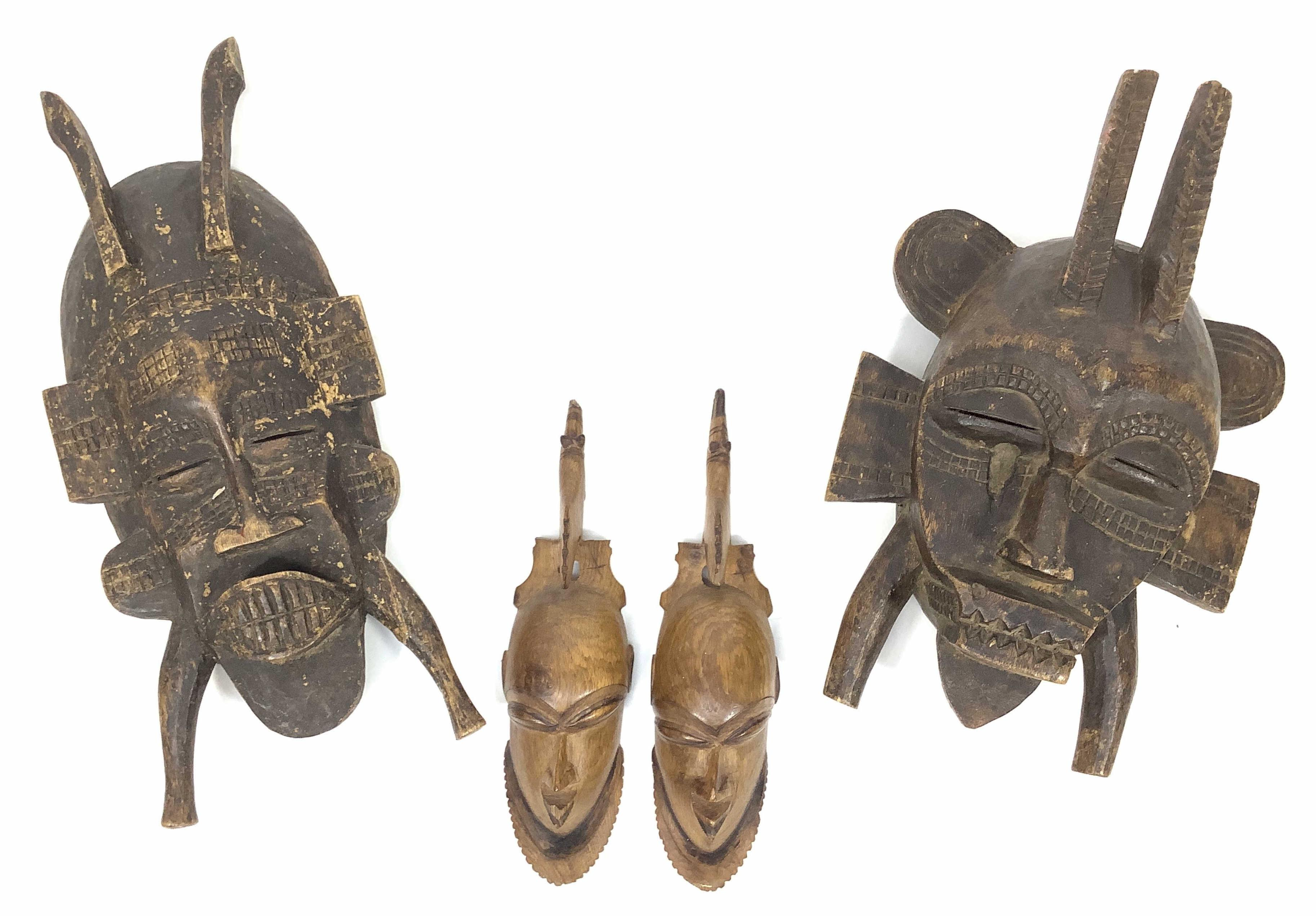 (4) Carved Wood Masks / Faces