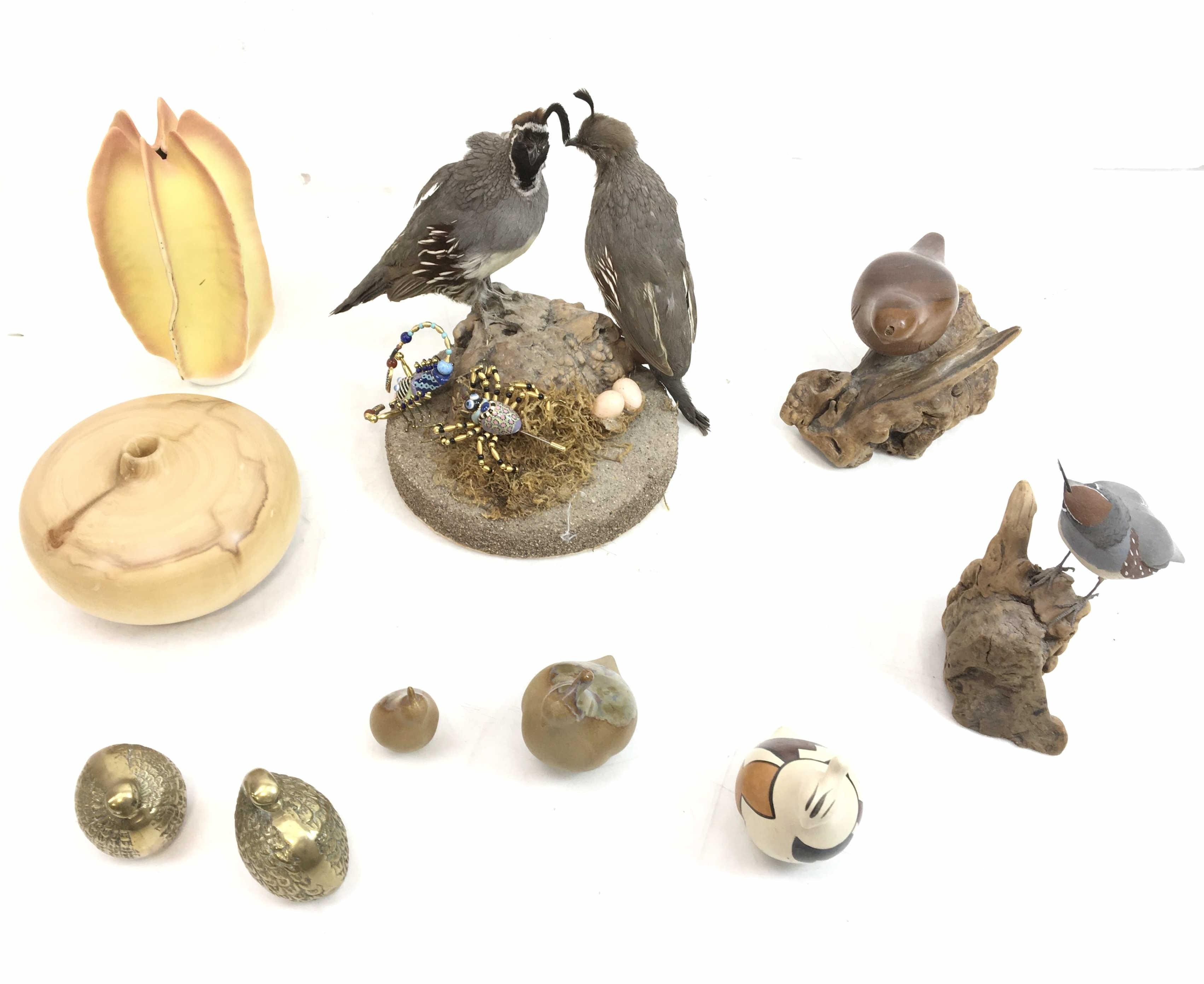 (10pc) Carved Wood, Brass, Ceramic Birds/ Decor