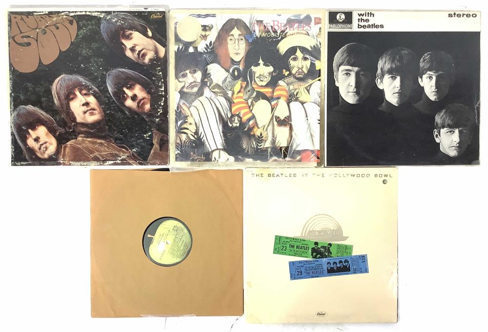 (5) Beatles Vintage Vinyl Records