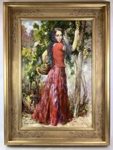 Andre Mare Woman In Red Portrait Oil On Canvas