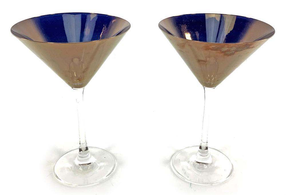 (8pc) Bronzed Crystal Martini Glasses