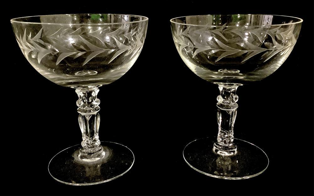 (8pc) Fostoria Etched Champagne Stemware