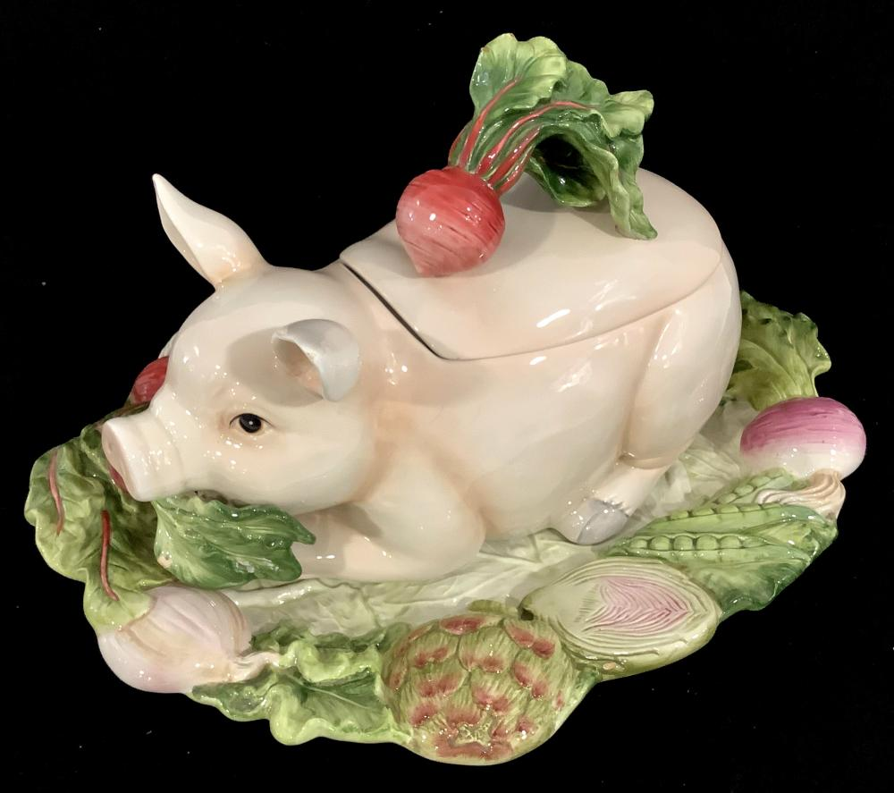 Fitz & Floyd French Market Pig Soup Tureen