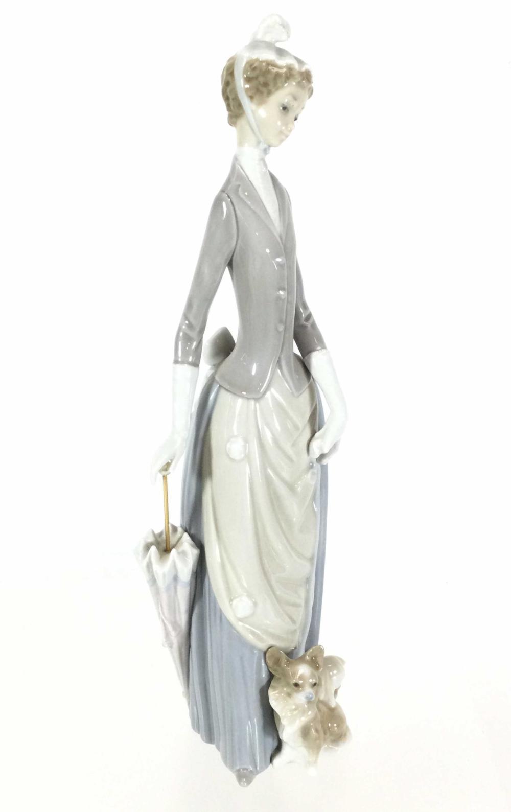 Lladro Girl With Umbrella & Dog Porcelain Figurine