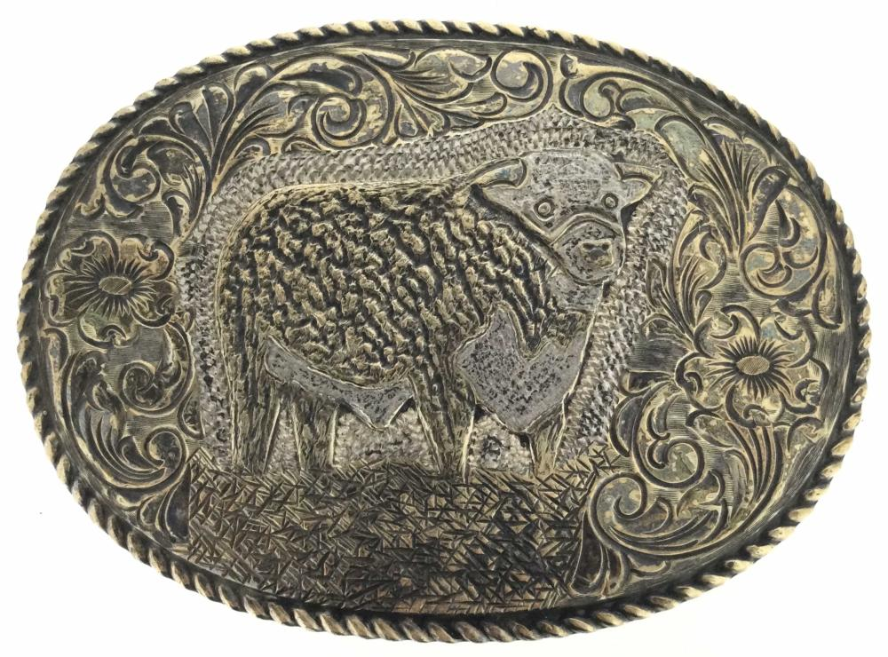 Vintage 22k Gold On Sterling Crumrine Belt Buckle