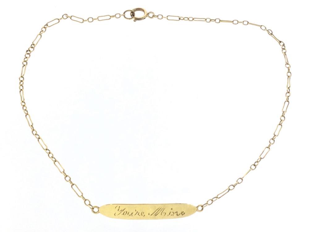 "14K Gold ""You're Mine, I'm Yours"" Ankle Bracelet"