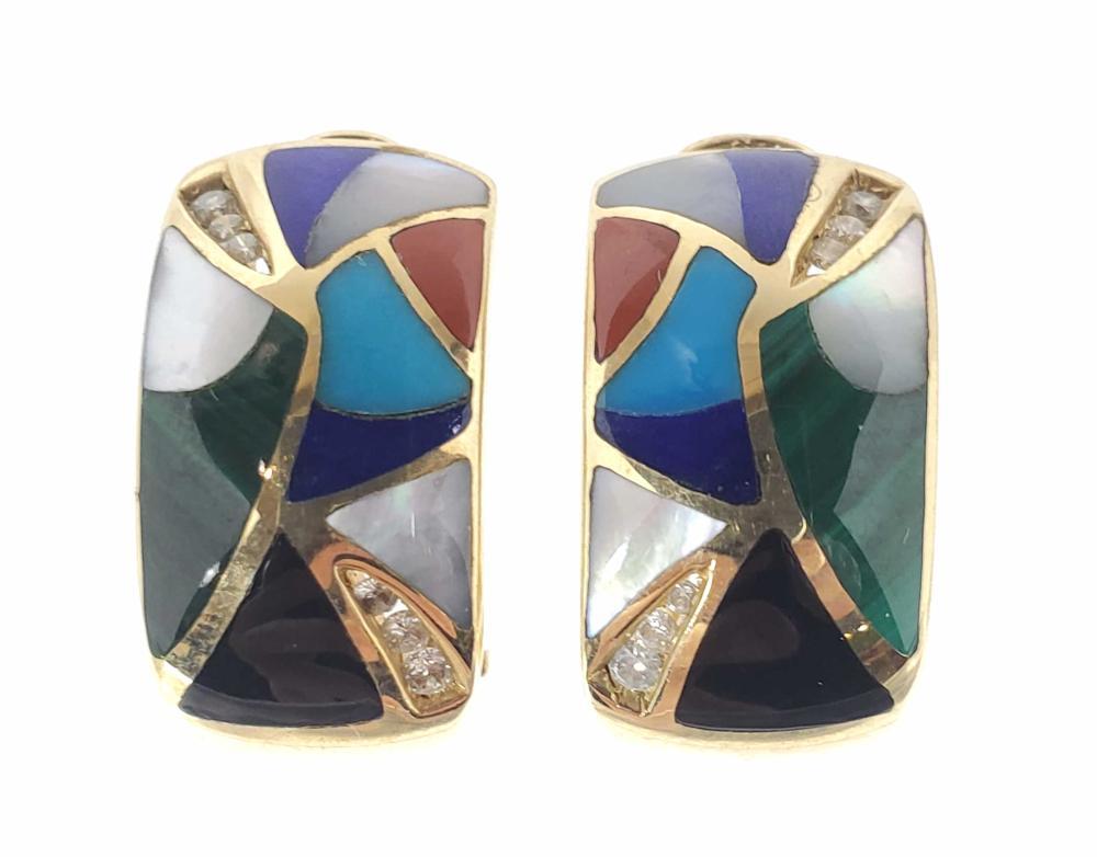 Signed 14K Gold Semi-Precious Stone Earrings