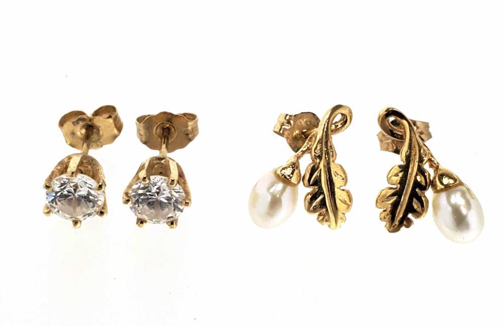 (2) Pairs 14K Gold & Pearl Earrings