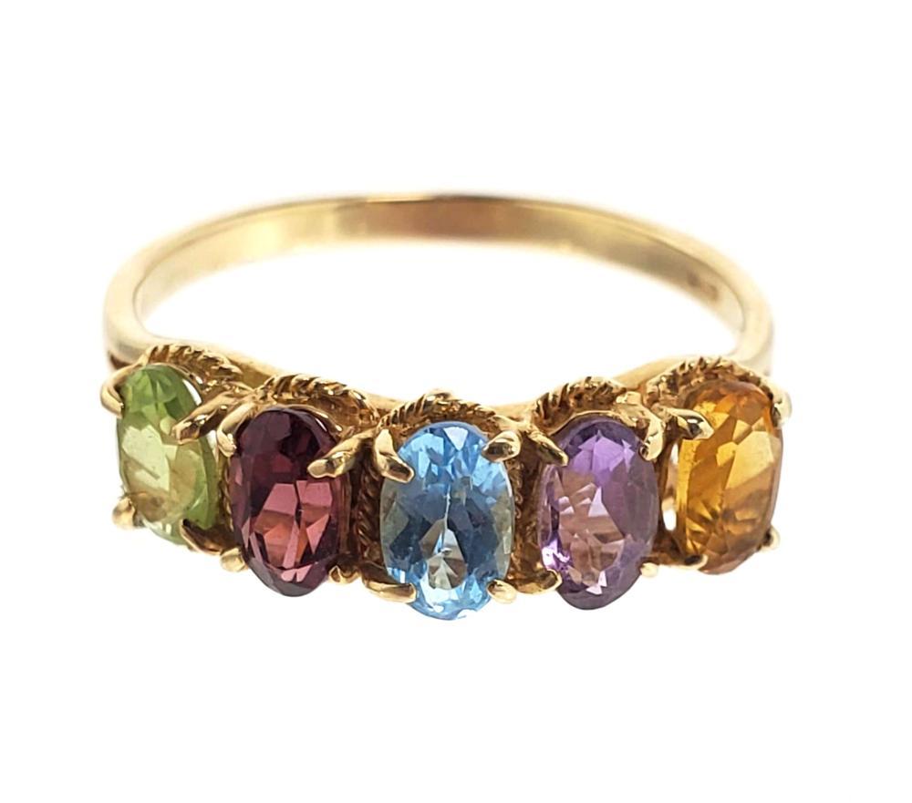 14K Gold & Multi Gemstone Ring Size (6.5)