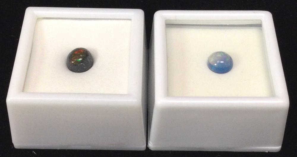(2pc) Crystal & Ethiopian Sky Blue Opals Gemstones