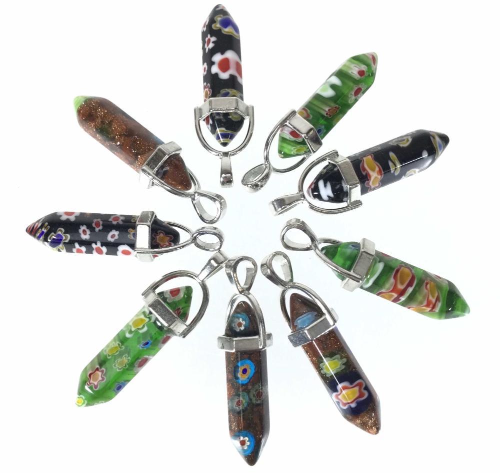 (9) Murano Art Glass Pendants